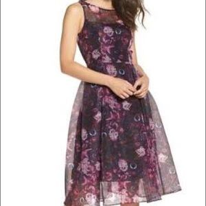 NWT Floral Organza Fit and Flare Midi Dress